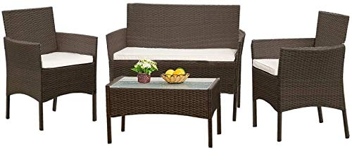 PE al aire libre jardín muebles de ratán Suite 4 Tipo de pequeño balcón y sala de estar, jardín, camping, etc,Brown