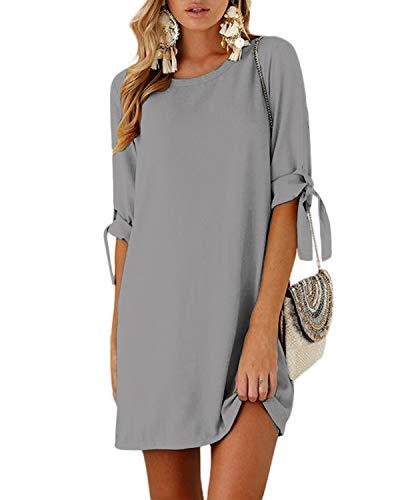 YOINS Damen Kleider Tshirt Kleid Sommerkleid für Damen Rundhals Brautkleid Langarm Minikleid Kleid Langes Shirt Lose Tunika mit Bowknot Ärmeln