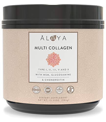Alaya Multi Collagen Powder for Women - Type I, II, III, V, X Hydrolyzed Collagen Peptides Protein Powder Supplement with MSM + GC - Unflavored Mississippi