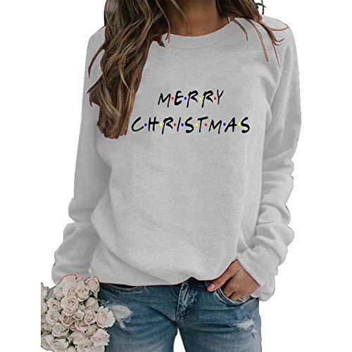 Merry Christmas T Shirts for Women Casual Christmas Long Sleeve Letter Printed Pullover Shirt Christmas Sweatshirts Memela White