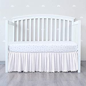 """crib bedding and baby bedding white crib skirt pleated with lovely pompoms, bedding dust ruffle for baby girls and baby boys, 14"""" drop, fit all standard crib bed,white, microfiber."""