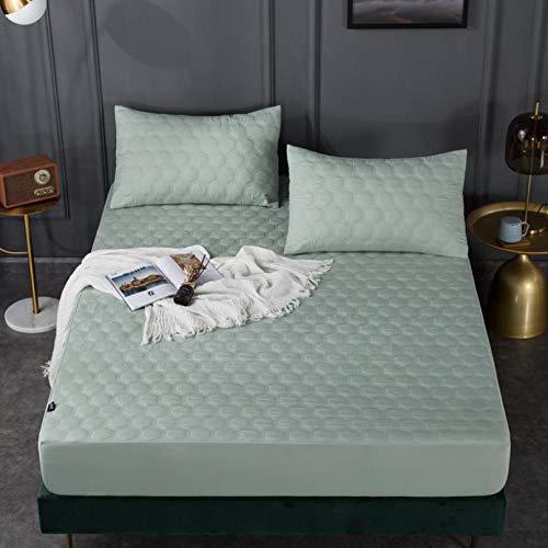 sabanas bajeras ajustables,Protector de colchón impermeable acolchado en relieve de color sólido blanco Funda estilo sábana ajustable para colchón Almohadilla suave y gruesa para cama-A_120x200+30cm