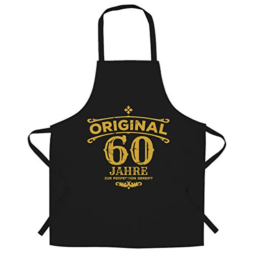 60th Birthday Chef's Apron Original Aged 60 Sixty Years Black One Size