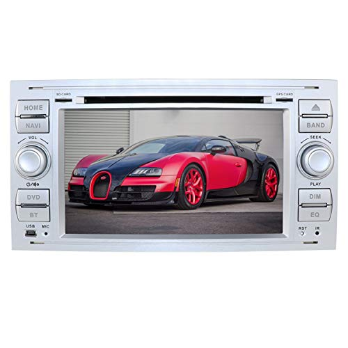 hizpo Android 9.0 7 inch 2-DIN autoradio Moniceiver DVD GPS Bluetooth navigatie voor Ford C-Max/Connect/Fiesta/Focus/Fusion/Galaxy/Kuga S-Max/Transit/Mondeo(zilver)