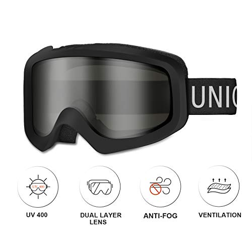 Unigear Skido X1 Ski Goggles, Snowboard Snow Goggles for Men, Women & Youth – Anti-Fog & 100% UV Protection (Black Gray Lens (VLT 18%))