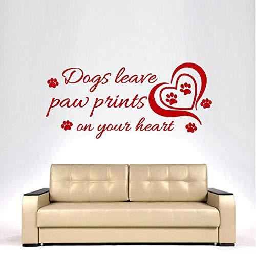 Honden laten Paw Prints en uw hart muur Sticker Home Decor Verwijderbare Wonen 58x27cm