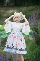 ティータイムロリータドレスかわいいボウタイハイウエスト甘いイチゴミルクケーキ女の子レース女性ドレス漫画学生ティーパーティーロリ