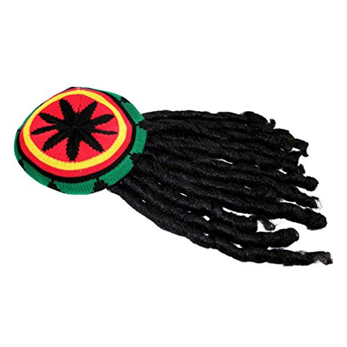 TECHSON Rasta Hat, Reggae Knit Slouchy Cap Beanie Hippie Tam with Black Dreadlocks Wig, Jamican Style Costume