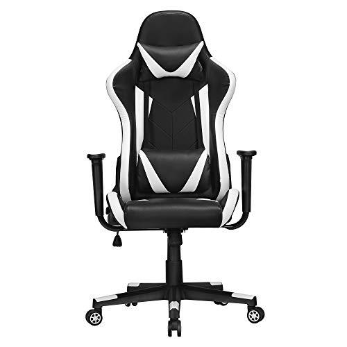 Yaheetech Gaming Stuhl Bürostuhl Drehstuhl Sportsitz Chefsesse Ergonomisches Design mit Wippfunktion Gamer Stuhl Höhenverstellbarer Kunstleder Racingstuhl (Schwarz-weiß)