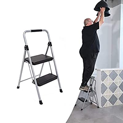 Topfun Folding Step Ladder Light Weight Steel Step Stool Sturdy Anti-Slip Wide Platform with PVC Handgrip Easy-to-Carry Ladder Fully Assembled Multi-Use Ladder for Home and Office