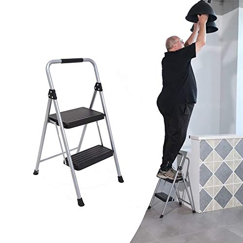Topfun Folding 2 Step Ladder Lightweight Steel Step Stool Sturdy Anti-Slip Wide Platform with PVC Handgrip Easy-to-Carry Ladder Fully Assembled Multi-Use Ladder for Home and Office (2 Step)
