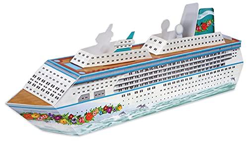 "Beistle Three Dimensional Cruise Ship Table Centerpiece – Nautical Decorations – Bon Voyage Ocean Theme Party Supplies, 13.25"", Multicolor"