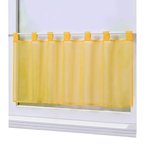Joyswahl Scheibengardine Voile Bistrogardine »Eva« Unifarbige Kurzstore Transparente Gardine Stores HxB 45x90cm Gelb 1er Pack