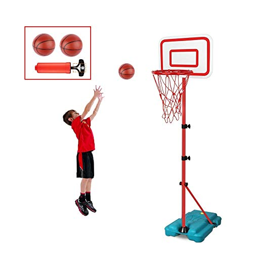 E EAKSON Kids Basketball Hoop Stand Set,Adjustable Height 2.9 ft -6.2 ft, Mini Indoor Basketball Goal Toy with Ball Pump for Baby Kids Boys Girls Outdoor Play Sport for Age 3 4 5 6 7 8 Years Old