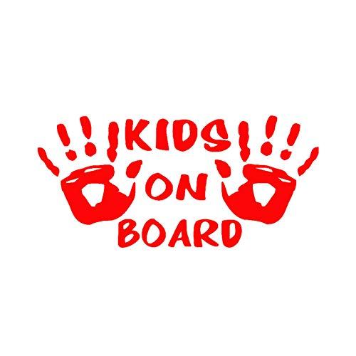 Auto-Aufkleber, Handabdruck von Kids on Board, für Autos, reflektierend, Rot
