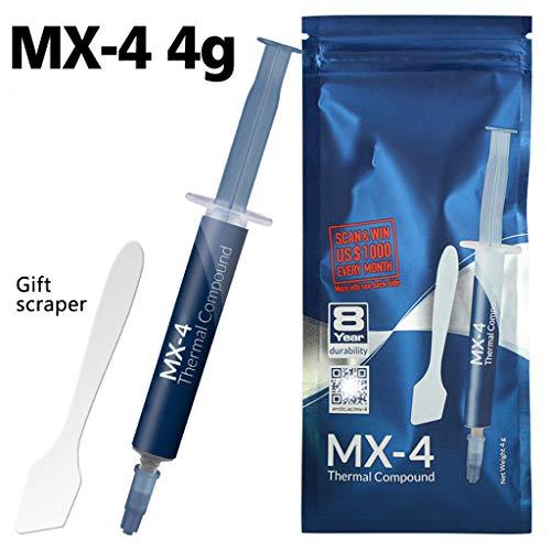 MX-4 2 g 4 g 8 g 20 g Fett-Wärmeleitpaste Professionelle Verbindung für Intel Prozessor, Silikonfett Wärmeleitpaste, extrem hohe Wärmeleitfähigkeit, gebrauchssicher