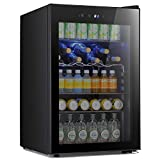 Antarctic Star Beverage Refigerator -145 Can Mini Fridge for Soda Beer or wine,Small Drink Dispenser, For Office or Bar with Adjustable Removable Shelves,4.4 Cu. Ft. (Black)