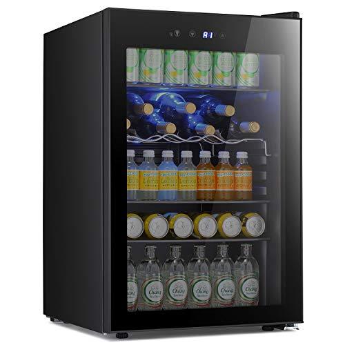 Antarctic Star Beverage Refigerator -145 Can Mini Fridge for Soda Beer or wine,Small Drink Dispenser, For Office or Bar with Adjustable Removable Shelves,4.5 Cu. Ft. (Black)