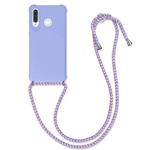 kwmobile Hülle kompatibel mit Huawei P30 Lite - mit Kordel zum Umhängen - Silikon Handy Schutzhülle Lavendel
