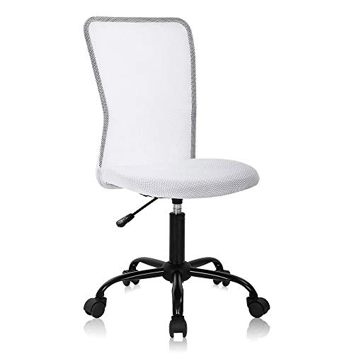 Ergonomic Desk Chair Mid Back Mesh Chair Height Adjustable Office Chair, Home Office Chair Modern Task Computer Chair No Armrest Executive Rolling Swivel Chair with Casters,White
