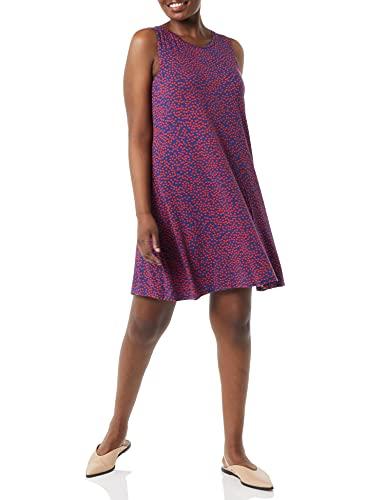 Amazon Essentials Women's Tank Swing Dress, Navy Red Dot, X-Small