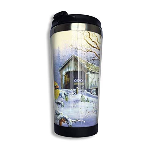Winter Kardinal Vogel Schnee Nacht Kaffee Reisebecher Auto Becher Tasse Eistee oder Wasserflasche Isolierte Thermo Tasse Edelstahl Zum Wandern, Camping, Arbeiten & Reisen