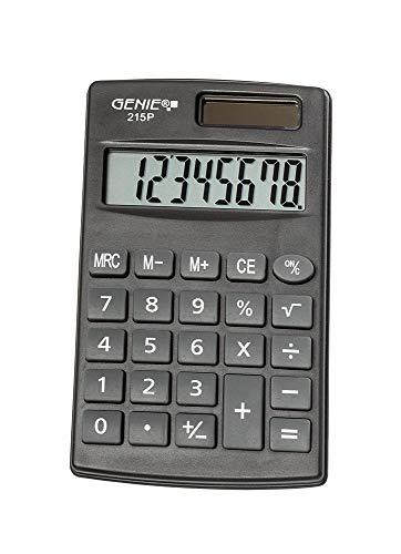 Genie 215 P8-stelliger Taschenrechner; Dual-Power (Solar und Batterie); kompaktes Design; grau