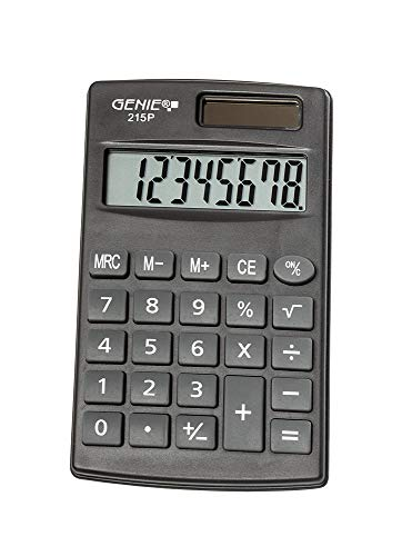 Genie 215 P8-cijferige rekenmachine, Dual Power (zonne-energie en batterij), compact design, grijs