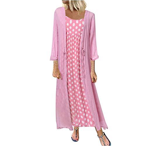 Größe Kleid Damen drucken lose Baumwolle und Leinen Zweiteilige Kleid Retro Boho-Stil Oansatz Punktdruck Spitze Zweiteilige 3/4 Ärmel Kleid Sonojie