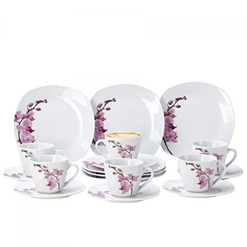 Van Well 18tlg. Kaffeeservice Kyoto für 6 Pers, Kaffeetassen + Unterteller + Kuchenteller, Porzellan-Geschirr, Blumen-Dekor Orchidee, rosa-rot, pink
