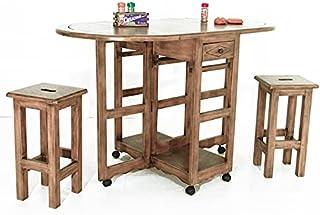 Nomadde Colonial - Ensemble Table sur Roue + 2 tabourets Yugur - Finition : Bois Massif d'Hévéa