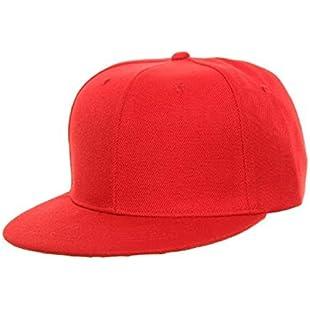 PLAIN RED SNAPBACK FLAT PEAK CAP SUPER COOL RETRO LOOK