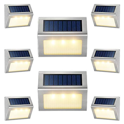 Solar Lights for Fence [Warm White] Waterproof Solar Powered Steps Light Auto On/Off Outdoor Wireless LED Lamp Decks Lighting Walkway Patio Stair Garden Path Rail Backyard Fences Post 8 Pack