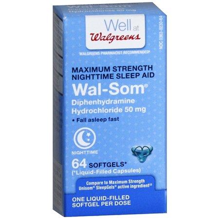 Walgreens Wal-Som Nighttime Sleep Aid Softgels, 64 ea