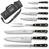 Sabatier Chef - Maletín de cocina con 6 cuchillos de cocina, 1 tenedor de carne y 1 fusil de afilar, fabricado en Francia