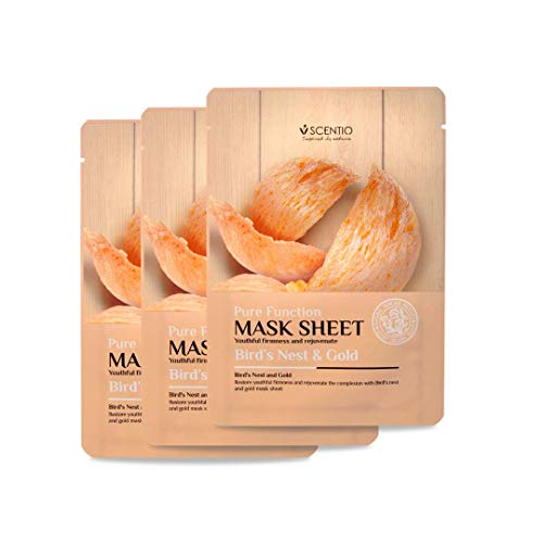 Scentio Bird's Nest & Gold Mask Sheet Pack Of 3 (Made In Thailand)