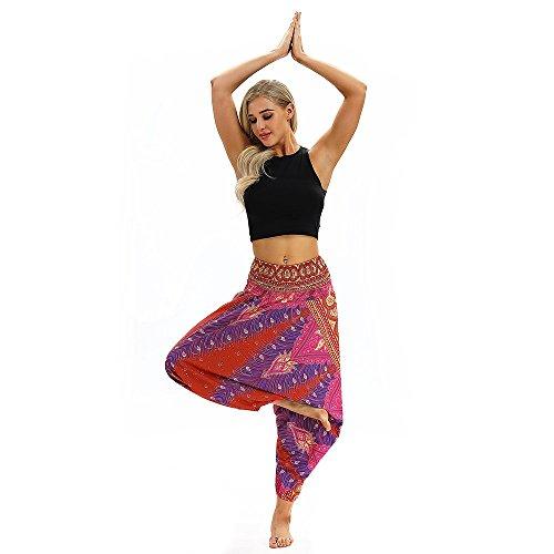 TUDUZ Yoga Hosen Baggy Hippie Boho Hose Hosenrock Haremshose Aladinhose Pumphose Pluderhosen für Damen (One Size, Y2-Pink)
