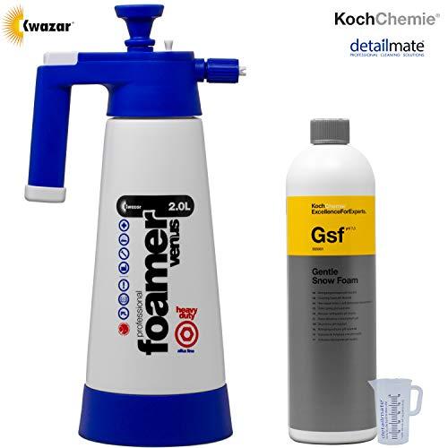 detailmate Koch Chemie GSF Gentle Snow Foam Kit de pré-nettoyage comprenant 1 litre, 1 mousse, un shampooing, un dissolvant, un nettoyant pour les substances alcalines et un verre gradué de 50 ml
