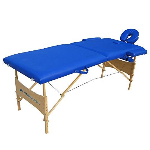 Mobiclinic, Light, Cama de Masaje, Camilla fisioterapia plegable, Reposacabezas, Masaje, Portátil, Madera, 186x60 cm, Azul ✅