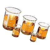 Lecimo Set di bicchieri Becher in vetro borosilicato graduato Laboratorio di misura volumetrica Glasswar