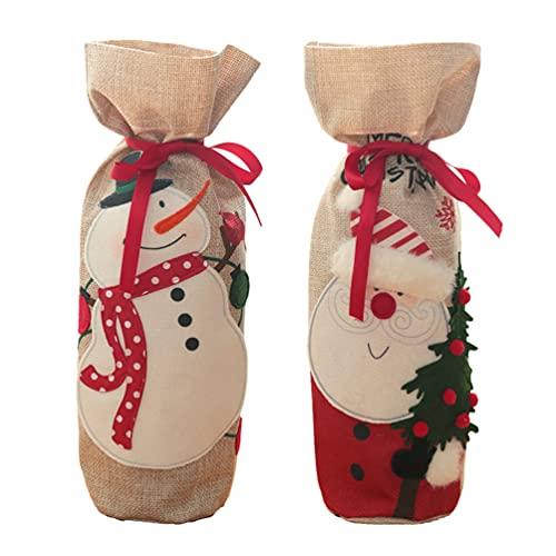Veemoon 2 Piezas Cubiertas de Botellas de Vino de Navidad Adornos de Navidad