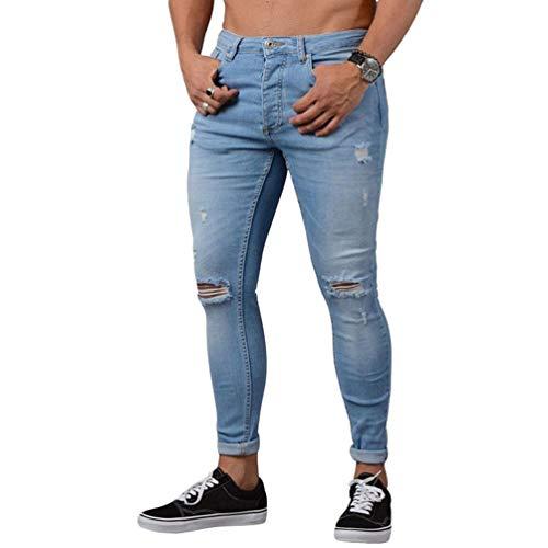 WanYangg Jeans Skinny da Uomo Strappati Ginocchia Jeans con Tasche Stretch Straight Slim Fit Stretto Denim Pantaloni Mode Casual Rotti Elasticizzati Jeans Pantaloni Blu Chiaro M