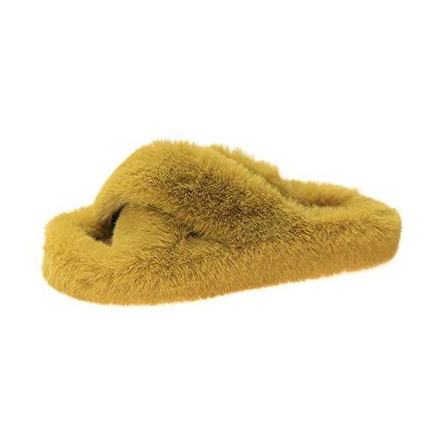 N/A Weiße Flip Flops für Männer, Weihnachtsplüschpantoffeln, Damen Herbst- und Wintermode Baumwollpantoffeln-Gelb_39