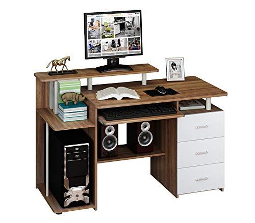 hjh OFFICE 673953 Tavolo/Scrivania per Computer con Cassettiera Fissa Stella Noce/Bianca
