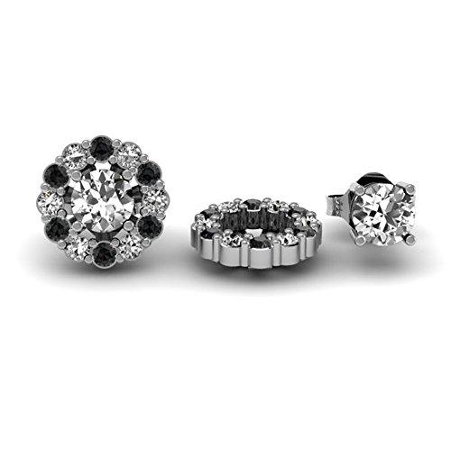 Damen Ohrringe / Ohrstecker 0.50 Karat 18 Karat Weißgold Schwarz & weiß Diamant Abnehmbare Jacken für 1/2 Karat