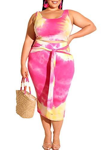 Womens Sexy Plus Size 2 Piece Midi Dress Outfits, Tie Dye Print Sleeveless Tank Crop Tops Bodycon Tie Pencil Skirts Set 3X-Large Rose