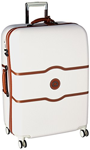 DELSEY Paris Chatelet Hard Hardside Luggage with Spinner Wheels Champagne White CheckedLarge 28 Inch