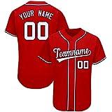 Custom Novelty Button-Down Baseball Jerseys Personalized Printed Baseball Shirt for Men/Women/Boy Red-White-Navy