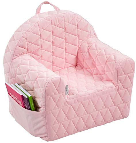 Albero Mio Kindersessel, Kinderstuhl, Kindermöbel, Kindersofa, rosa, gemütlich mit waschbarem Samtbezug und Aufbewahrungsfach für Spielsachen