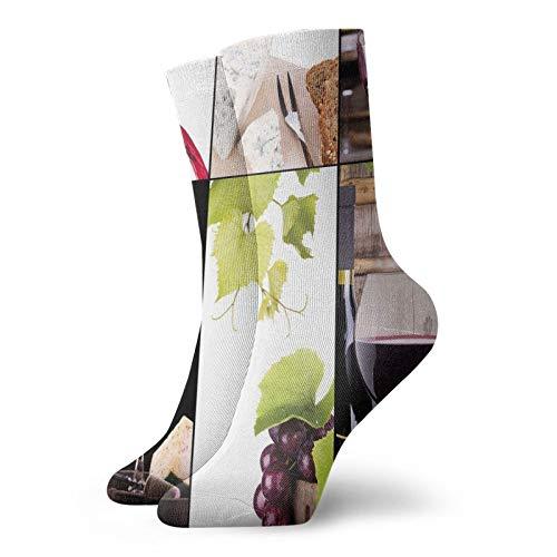 Calcetines cortos de longitud de pantorrilla suaves con botella de vino, vino, uva, sabor gourmet, bebidas, calcetines para mujeres y hombres, ideales para correr